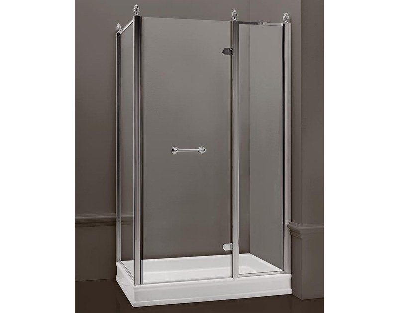 Rectangular satin glass shower cabin with hinged door DORSET | Rectangular shower cabin by BATH&BATH