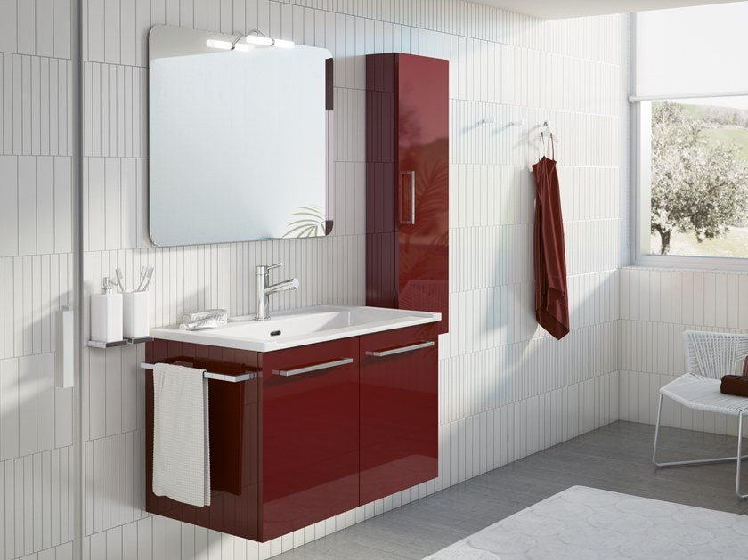 Wall-mounted laundry room cabinet with sink DOUBLE 02 by BMT