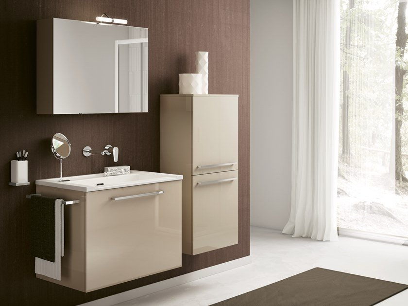 Wall-mounted laundry room cabinet with sink DOUBLE 04 by BMT