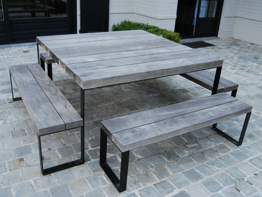Square wooden garden table DOUBLE G | Square table by CABUY D.