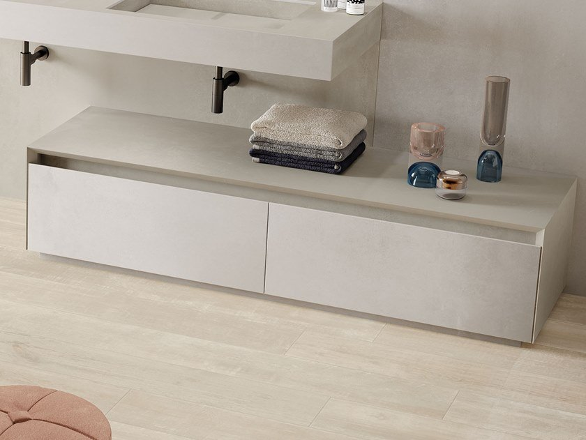 Floorstanding porcelain stoneware bathroom cabinet with drawers DOUBLE LOFTY by Italgraniti