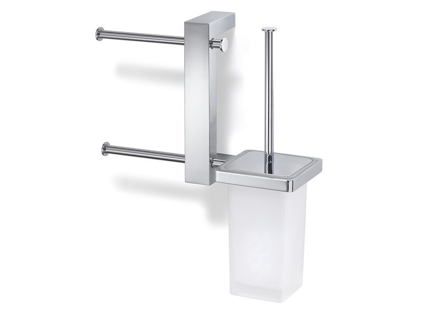 Wall-mounted double metal toilet brush BRIDGE   Double toilet roll holder by GEDY