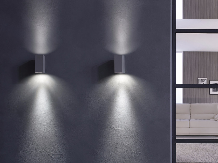 Direct-indirect light aluminium wall lamp DOUBLE WALL by GLIP by S.I.L.E