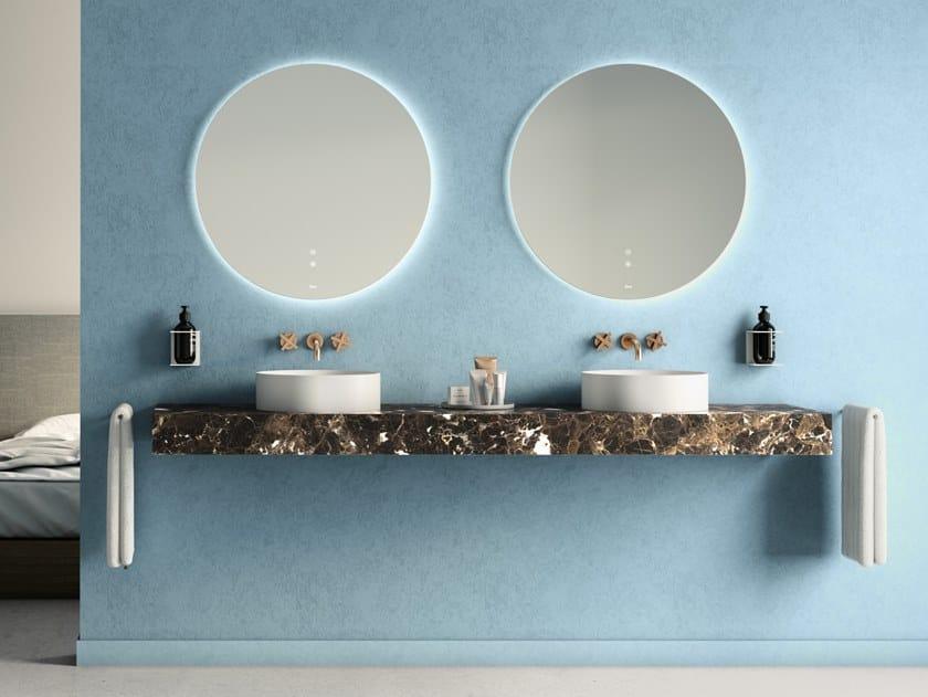 Lavabo doppio sospeso in marmo Dark Emperador PURE | Lavabo doppio by Fiora