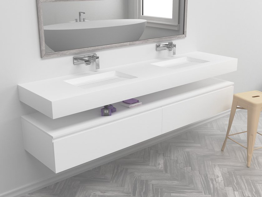 Double rectangular wall-mounted Corian® washbasin ALABAMA | Double washbasin by RILUXA