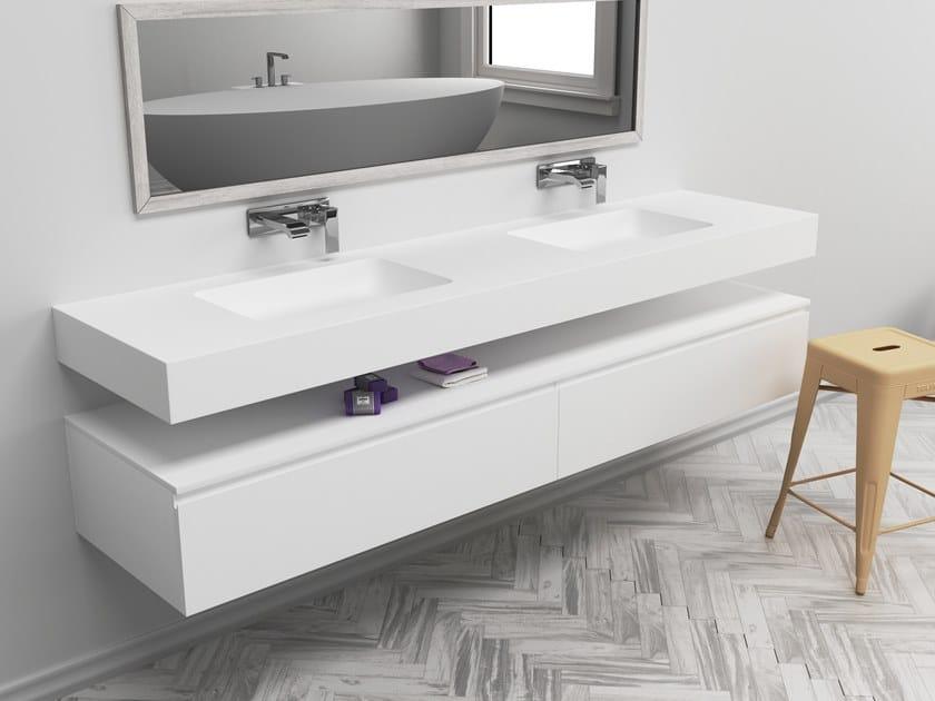 Double rectangular wall-mounted Corian® washbasin TORONTO | Double washbasin by RILUXA