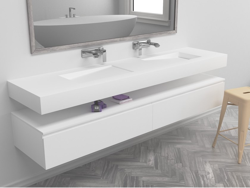 Double rectangular wall-mounted Corian® washbasin CANADA | Double washbasin by RILUXA