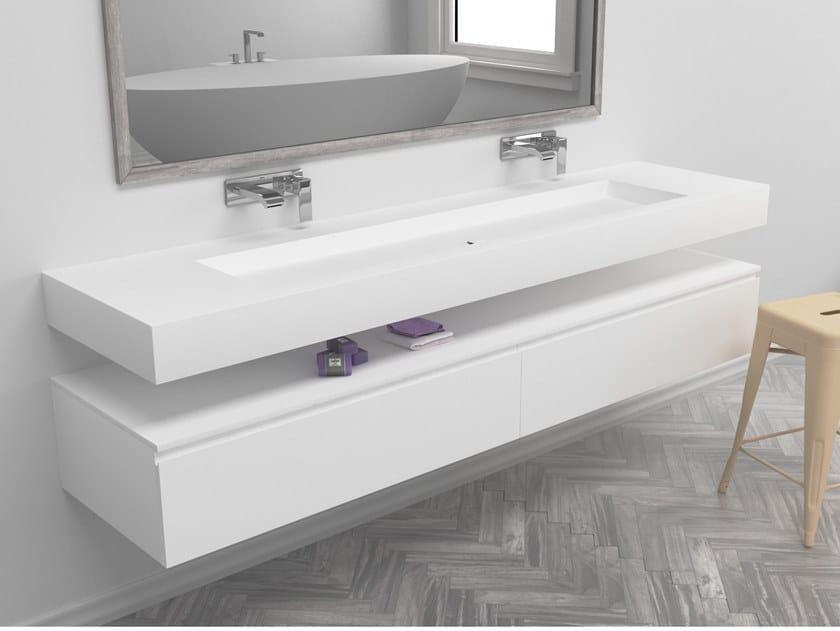 Double rectangular wall-mounted Corian® washbasin INDIANA | Double washbasin by RILUXA