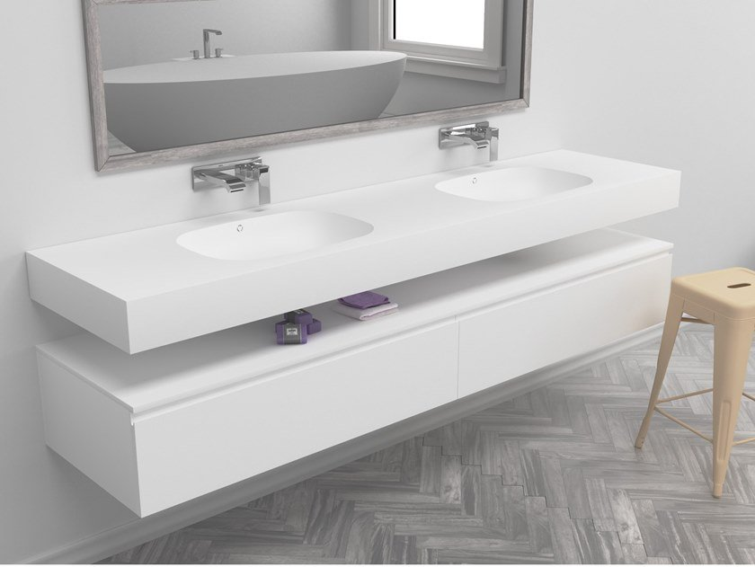 Double oval wall-mounted Corian® washbasin PEACE | Double washbasin by RILUXA