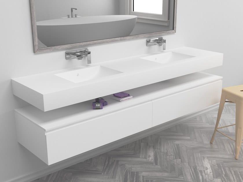 Double rectangular wall-mounted Corian® washbasin REFRESH | Double washbasin by RILUXA