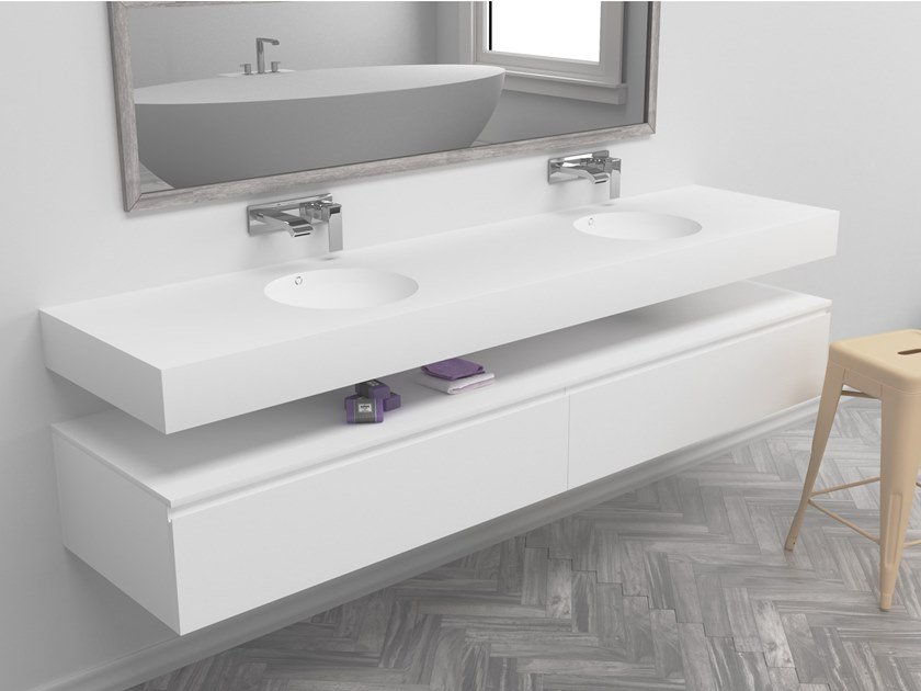Double round wall-mounted Corian® washbasin RELAX | Double washbasin by RILUXA