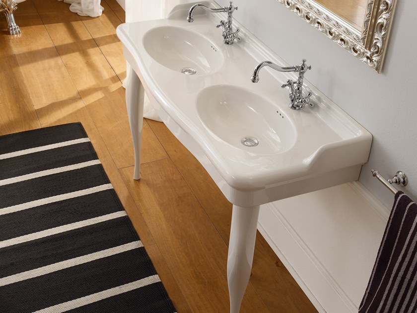 Console double ceramic washbasin CASTELLANA | Double washbasin by Scarabeo Ceramiche