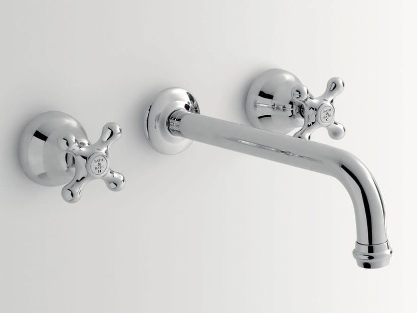 Rubinetto per lavabo a 3 fori a muro DOVER | Rubinetto per lavabo a muro by BATH&BATH