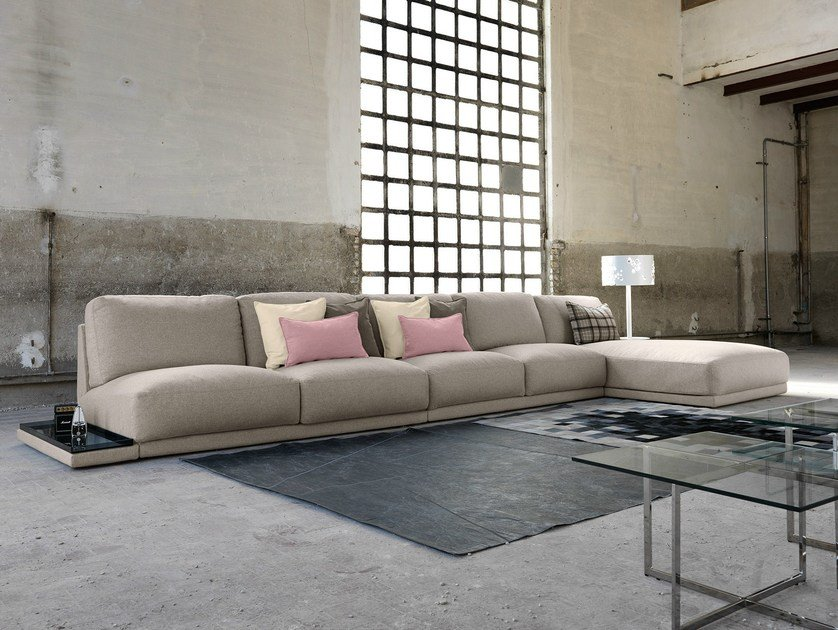 Fabric sofa with chaise longue DOYLE | Sofa with chaise longue by Domingo Salotti