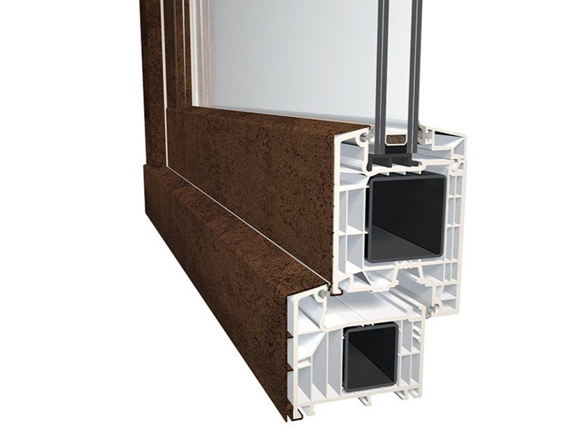 Glazed aluminium and PVC entry door DQG 85 SMART ALU by DQG Windows for life - Diquigiovanni