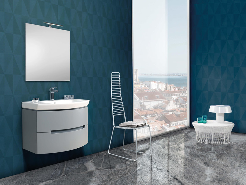 Lacquered single vanity unit with mirror DR04 by Mobiltesino