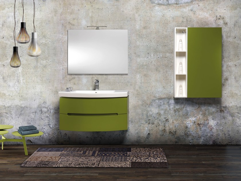 Lacquered single vanity unit with mirror DR05 by Mobiltesino