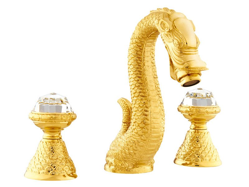 3 hole washbasin tap with Swarovski® crystals DRAGON | 3 hole washbasin tap by Bronces Mestre