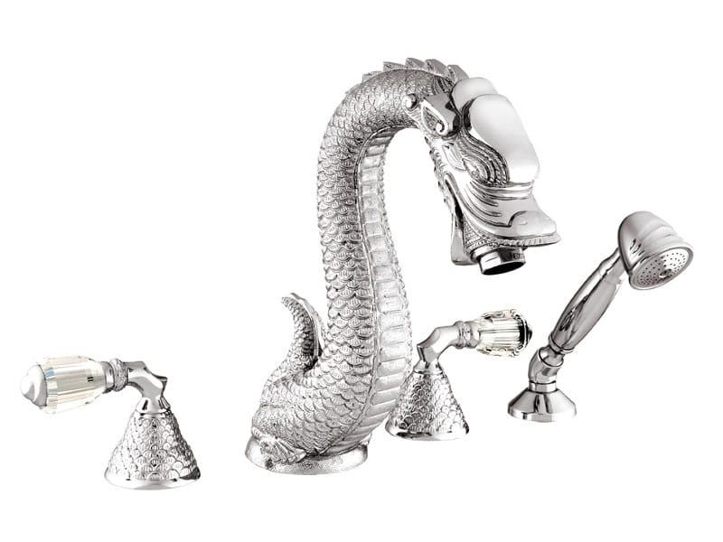 4 hole bathtub set with Swarovski® crystals DRAGON | Bathtub set with Swarovski® crystals by Bronces Mestre