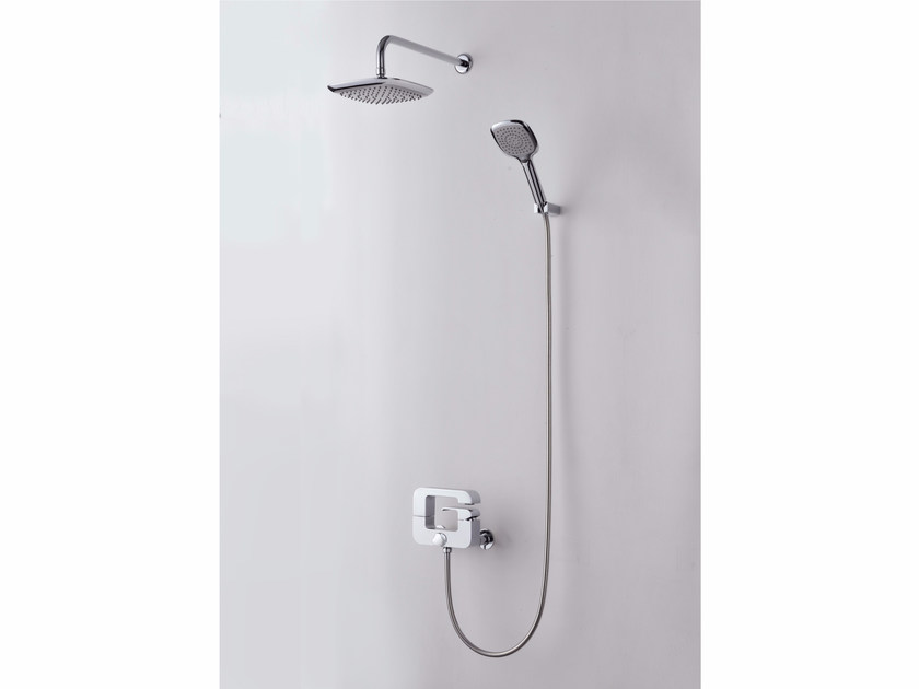 Single handle shower mixer with hand shower with overhead shower DRAGON | Shower mixer with overhead shower by JUSTIME