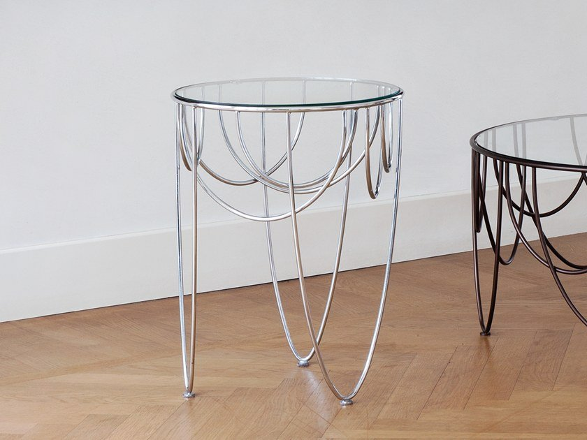 Round crystal and steel coffee table DRAPERY by spHaus
