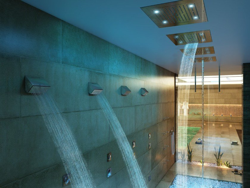 LED 2-spray steel overhead shower Dream 2 Sprays - RGB CROMOTHERAPY by Bossini