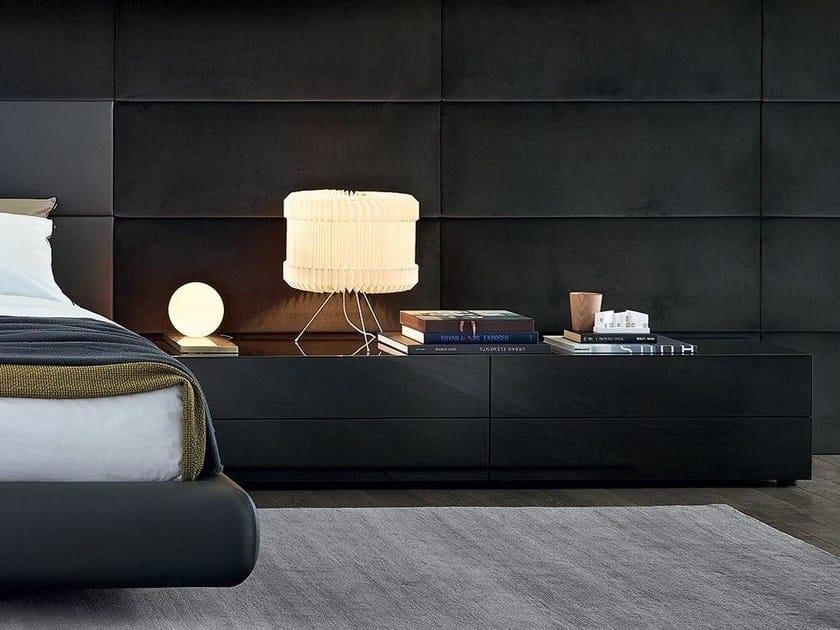 Lacquered rectangular wood veneer bedside table DREAM | Bedside table by poliform