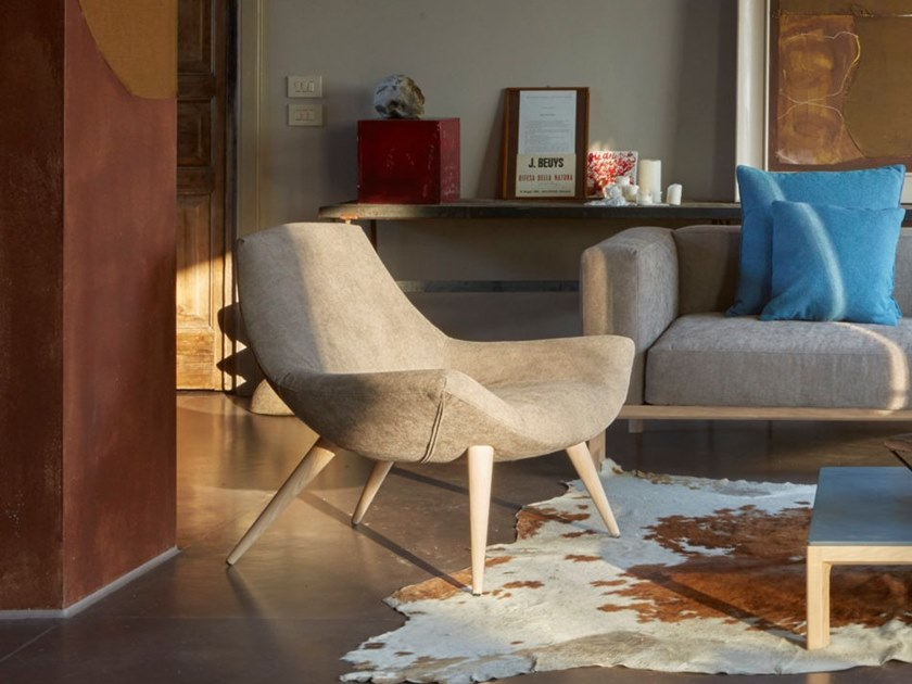 Upholstered fabric armchair with removable cover DREAM by H&Co