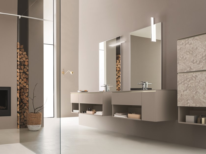Double wall-mounted vanity unit with mirror DRESS 01 by ARBLU