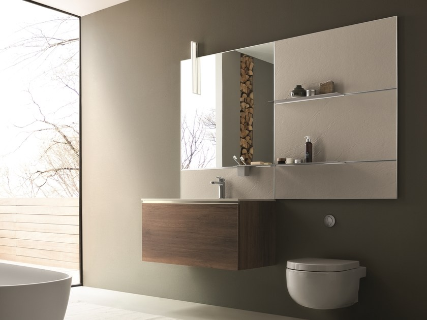 Wall-mounted vanity unit with mirror DRESS 03 by ARBLU
