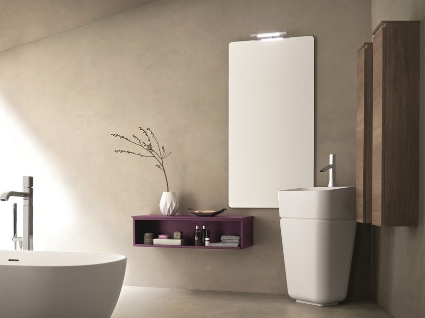 Wall-mounted vanity unit with mirror DRESS 04 by ARBLU