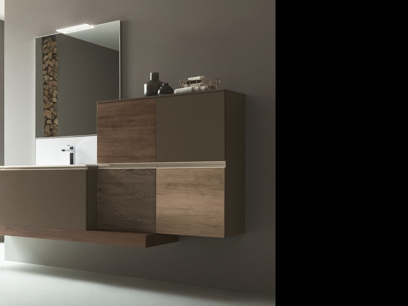 Wall-mounted vanity unit with mirror DRESS 07 by ARBLU