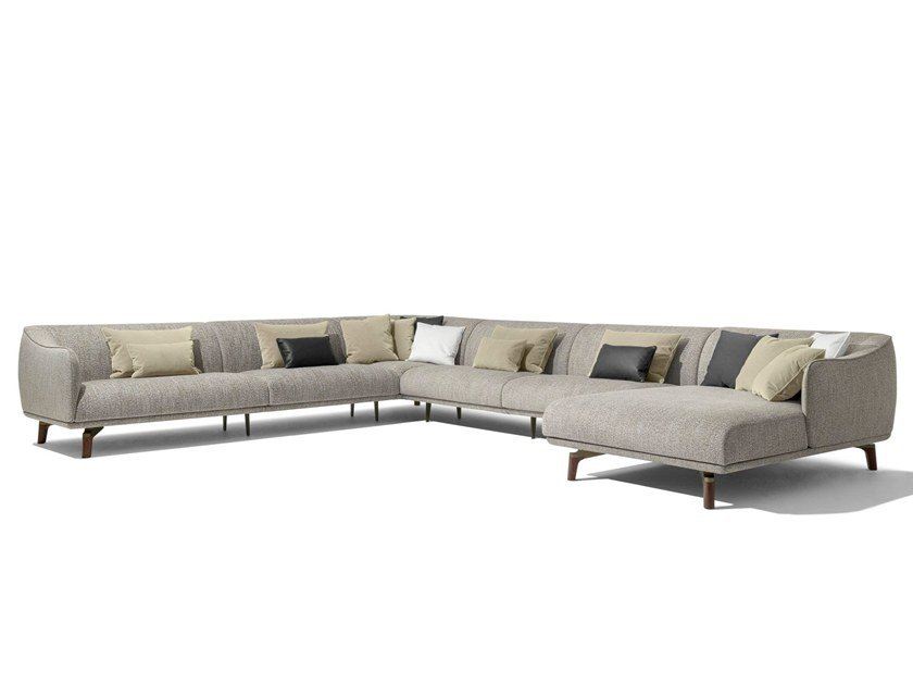 Corner fabric sofa with chaise longue DRIVE | Corner sofa by GIORGETTI