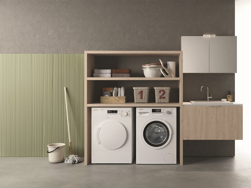 Sectional laundry room cabinet DROP - COMPOSITION D16 by NOVELLO