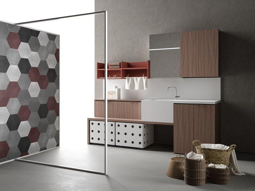 Sectional laundry room cabinet DROP - COMPOSITION D06 by NOVELLO