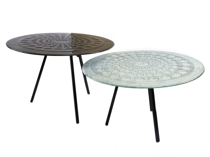 Round glass coffee table DROPS by Baranska Design