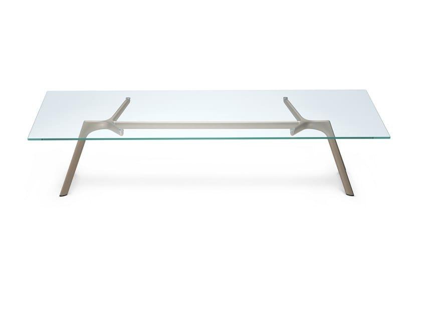 Mesita rectangular en aluminio y vidrio DRY LOW TABLE - 45B by Alias