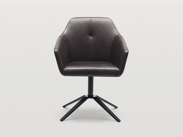 Leather easy chair with armrests DS-279 | Easy chair with 4-spoke base by de Sede