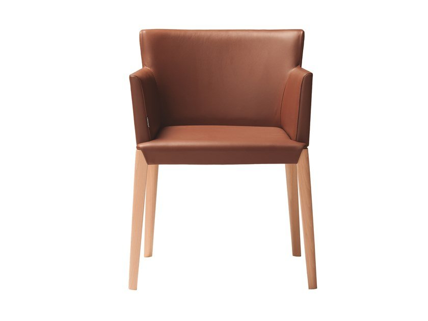 Upholstered leather chair with armrests DUAL 483 by Capdell