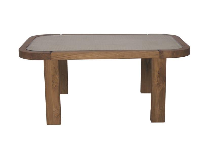 Rectangular wood and glass garden side table DUAL | Rectangular coffee table by Il Giardino di Legno