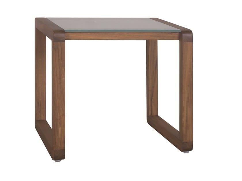 Square wood and glass garden side table DUAL | Square coffee table by Il Giardino di Legno