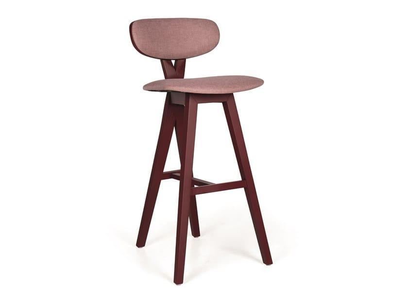 Upholstered wooden barstool DUETO EST BAR by Fenabel