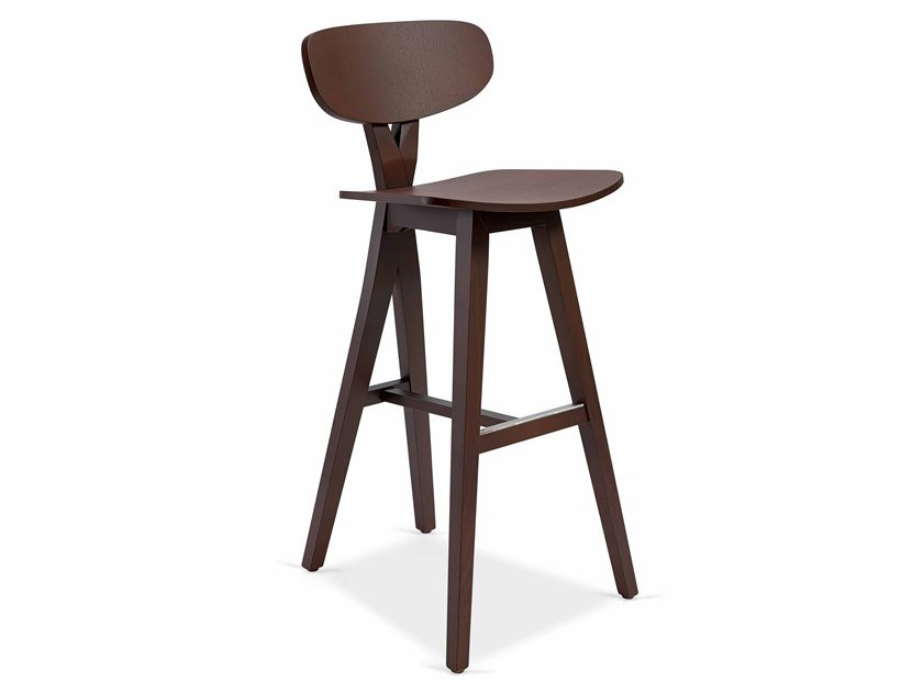 High wooden stool DUETTO BAR by Fenabel