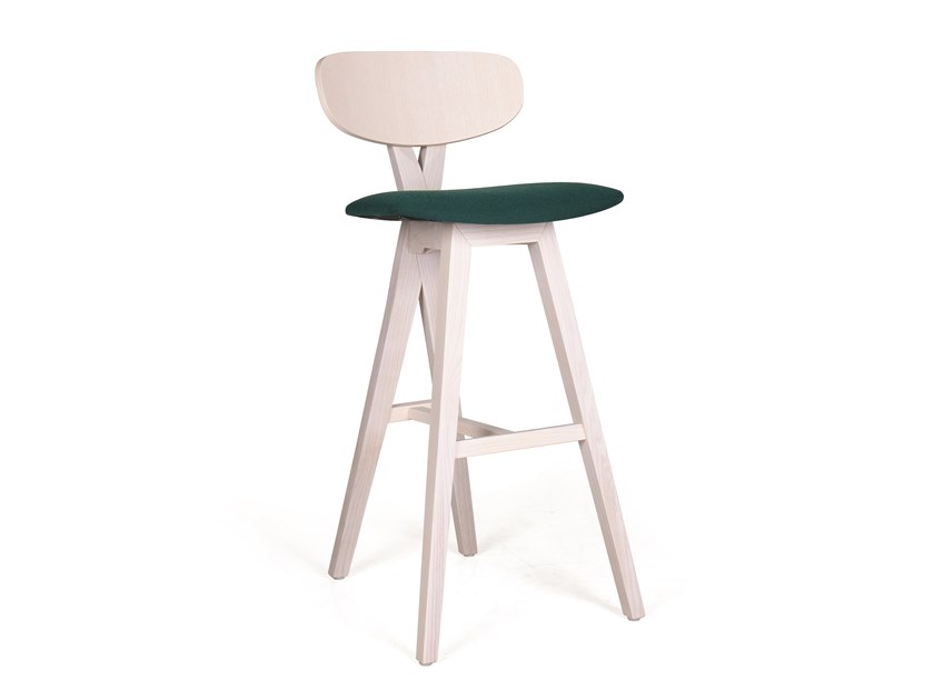 Upholstered wooden barstool DUETO BAR by Fenabel