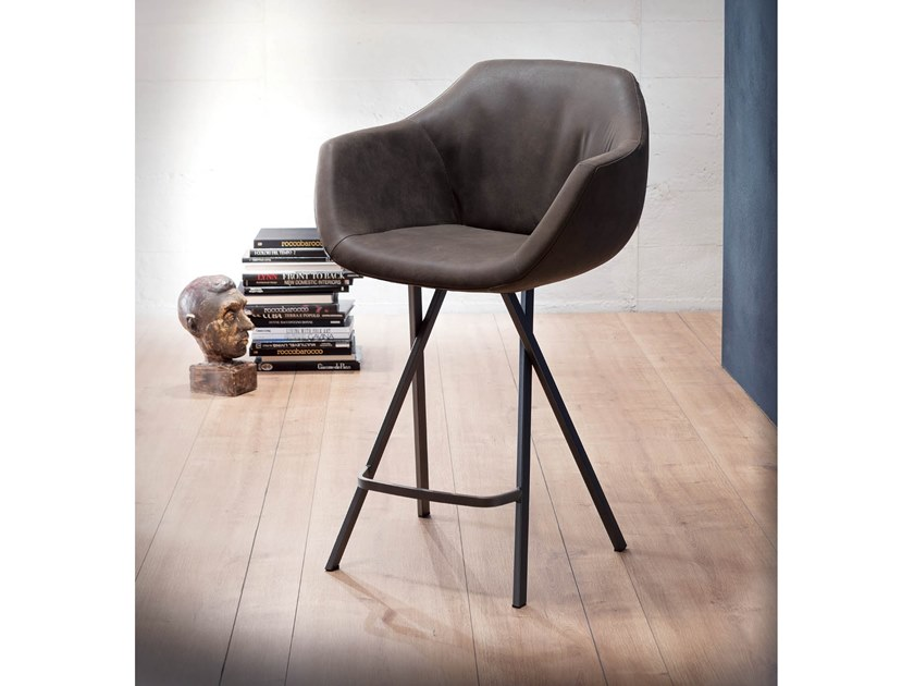 High upholstered leather stool DUMBO by Ozzio Italia
