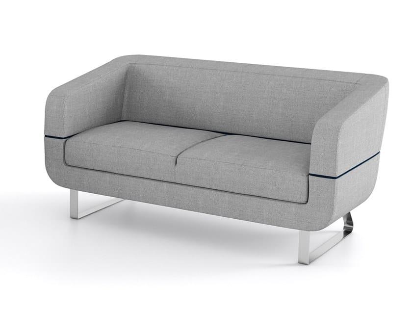 Sled base upholstered 2 seater fabric sofa DUNE | Fabric sofa by ESTEL GROUP