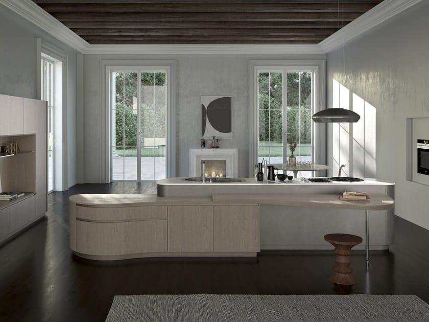 Cucina laccata con isola con maniglie integrate DUNE   Cucina con ...