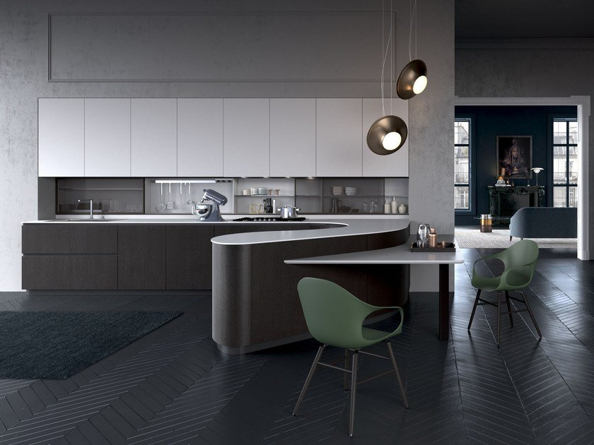 Lacquered kitchen with integrated handles with peninsula DUNE | Kitchen with peninsula by Pedini