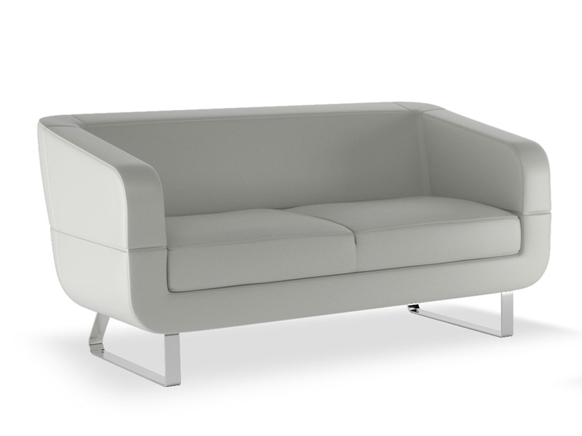 Sled base upholstered 2 seater leather sofa DUNE | Leather sofa by ESTEL GROUP
