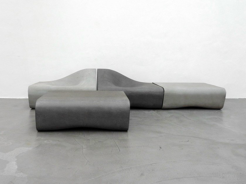 Modular cement Bench with back DUNE | Bench by SWISSPEARL Italia